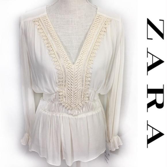 Zara Women Cream Beige Ecru Lace Halter Sleeveless Top Size M L